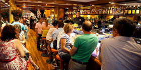 """Busy A Taberna do Bispo… """"We ordered two glasses of whatever the waiter thought fit,"""" writes Richard Calver."""