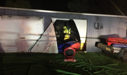 Equipment destroyed in suspicious shed fire