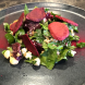 The roasted beetroot, baby spinach and Persian feta salad… the bright beetroot dust looked fab against the dark plate. Photo by Wendy Johnson