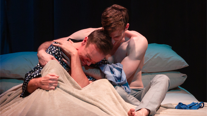 """Craig Alexander as Jasper Ferrier and Ethan Gibson as Craig Morron in """"Exclusion"""". Photo by Shelly Higgs"""