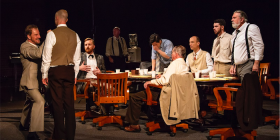 Twelve Angry Men LR Rob de Fries Isaac Reilly Duncan Driver Tony Turner Will Huang Geoffrey borny Martin Searles Glenn Brighenti Pat Gallaghertphoto Janelle McMenamin