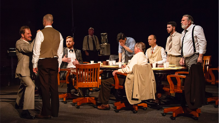 Twelve AngryMen LR Rob de Fries Isaac Reilly Duncan Driver Tony Turner Will Huang Geoffrey borny Martin Searles Glenn Brighenti Pat Gallaghertphoto Janelle McMenamin