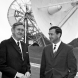 In front of the Honeysuckle dish in July, 1969, from left, Department of Supply deputy secretary Lloyd Bott, Prime Minister John Gorton, Department of Supply secretary Alan Cooley and Tom Reid. (Photo courtesy of Ken Sheridan and Colin Mackellar).