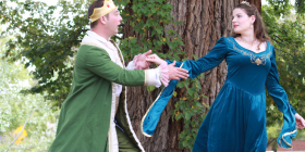 """Isaac Gordon as Dauntless and Alex McPherson as Winnifred  in """"Once Upon a Mattress""""."""