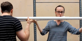 Flautist Kiri Sollis with Michael Sollis play Mark Cain's slide-flute.