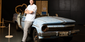 "National Motor Museum curator Michelangelo Bolognese with a 1962 EJ Holden station wagon from the first series of ""Bush Mechanics"". Photo by Andrew Castellucci"