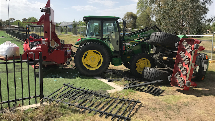 Clash of the tractors and a broken fence at Gold Creek Primary School.