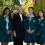 Canberra Girls Grammar principal Anna Owen with, from left, school vice captain Nithya Mathews, school captain Ailin He and boarding house captain Nancy Xia. Photo: Holly Treadaway