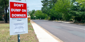 """Don't dump on Downer""... With all the new proposed developments, no funds have been allocated for major upgrades and overdue community facilities. Photo: Paul Costigan"