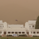 Canberra's dust storm from behind Old Parliament House, facing Lake Burley Griffin. Photo: Mike Welsh