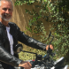 """Liberal Jeremy Hanson astride his Triumph Bonneville… keen to """"fight bikies and curb criminal activity and violent behaviour now existing in Canberra's suburbs""""."""