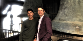Senior carillonist Thomas Laue, left, and singer Tobias Cole high up in the National Carillon. Photo: Helen Musa