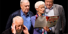 """Senior Moments""... The Playhouse, March 8-9.  Bev Growden… off to Sydney.  Rehearsing ""Dead Cat Bounce"" Photo Brett Boardman"